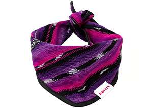 Top front view of pink and purple dog bandana with knot