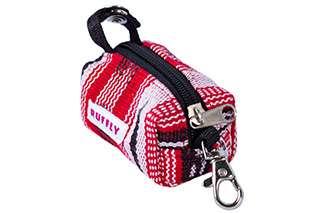 Top side angle view of red dog poop bag holder