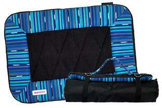 Small dog travel bed in blue open and rolled up with strap