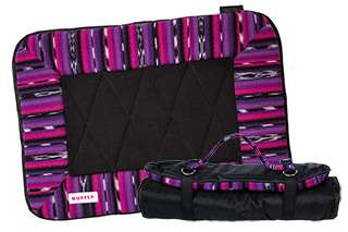 Small dog travel bed in pink and purple open and rolled up with strap