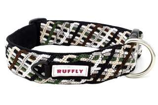 Top front view of brown, green, and black dog collar