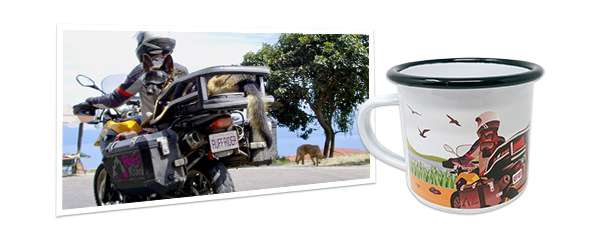 Custom enamel camping mug with original artwork of a dog on a motorcycle beside the original photo