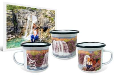 12 oz metal enamel camping coffee mug for travel with custom wraparound artwork made from the original photo of a woman and her dog