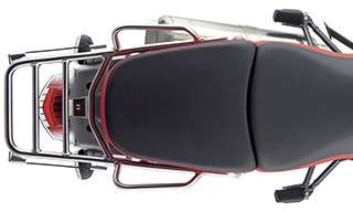 Top view of rear half of motorcycle
