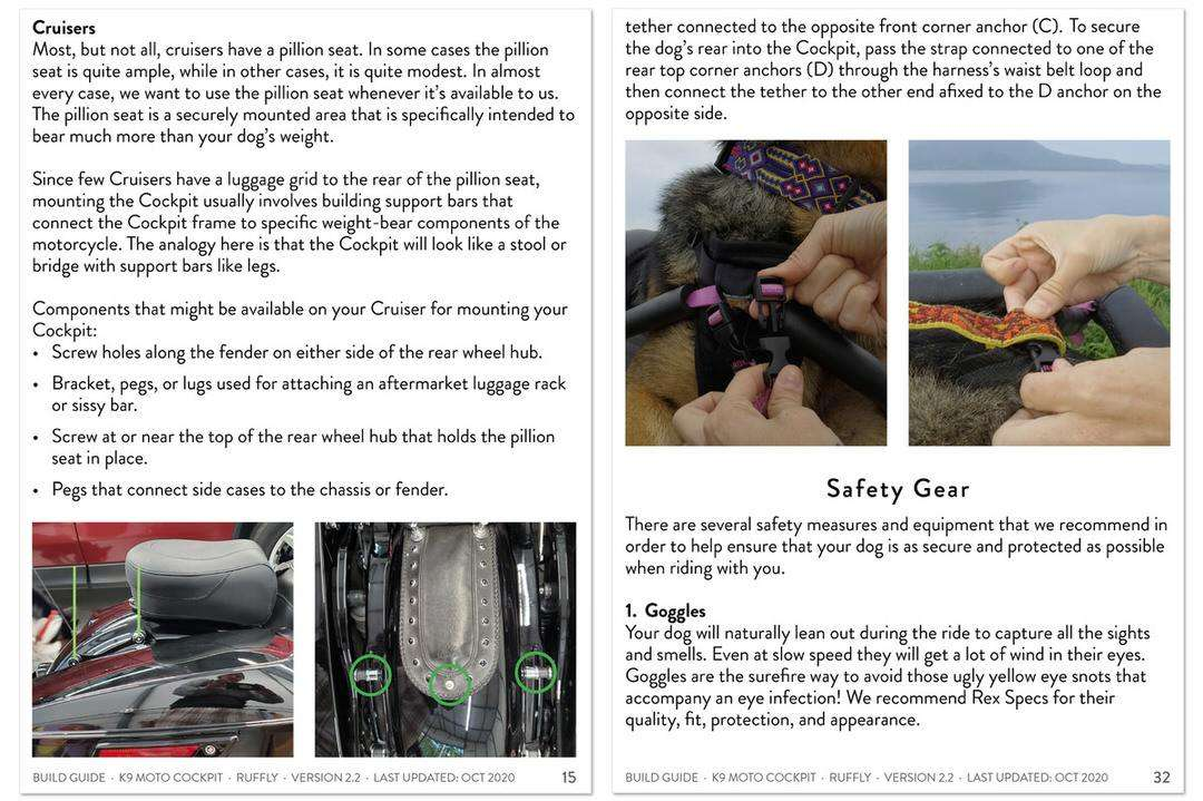 Selected pages from DIY instruction manual for building a safe motorcycle dog carrier