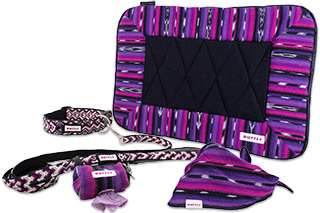 Matching set of outdoor dog collar, leash, poop bag holder, bed, and bandana in purple