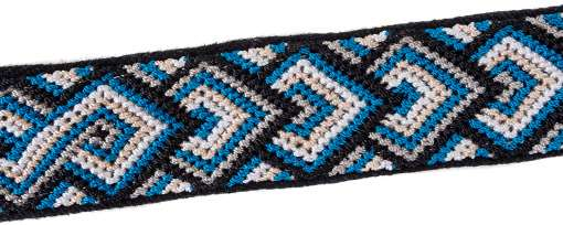 Closeup of diamond pattern blue knotted band on black handwoven cotton with reflective ribbon