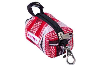 Dog poop bag holder in red and black made by Guatemalan artisans from handwoven cotton colorfast fabric